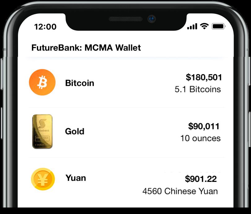 Mockup of an MCMA wallet showing gold, Bitcoin and Yuan