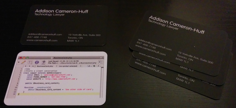Photo of Addison Cameron-Huff's business cards for his law practice