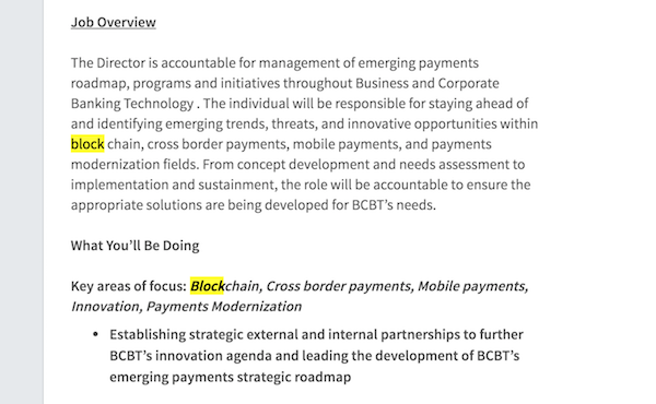 Screenshot of CIBC job ad that mentions Blockchain