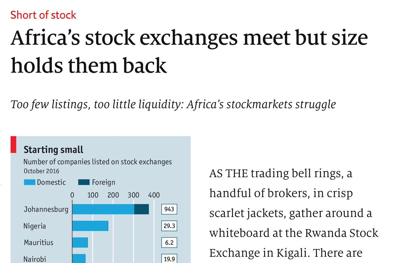 Screenshot of Economist article on African stock exchanges