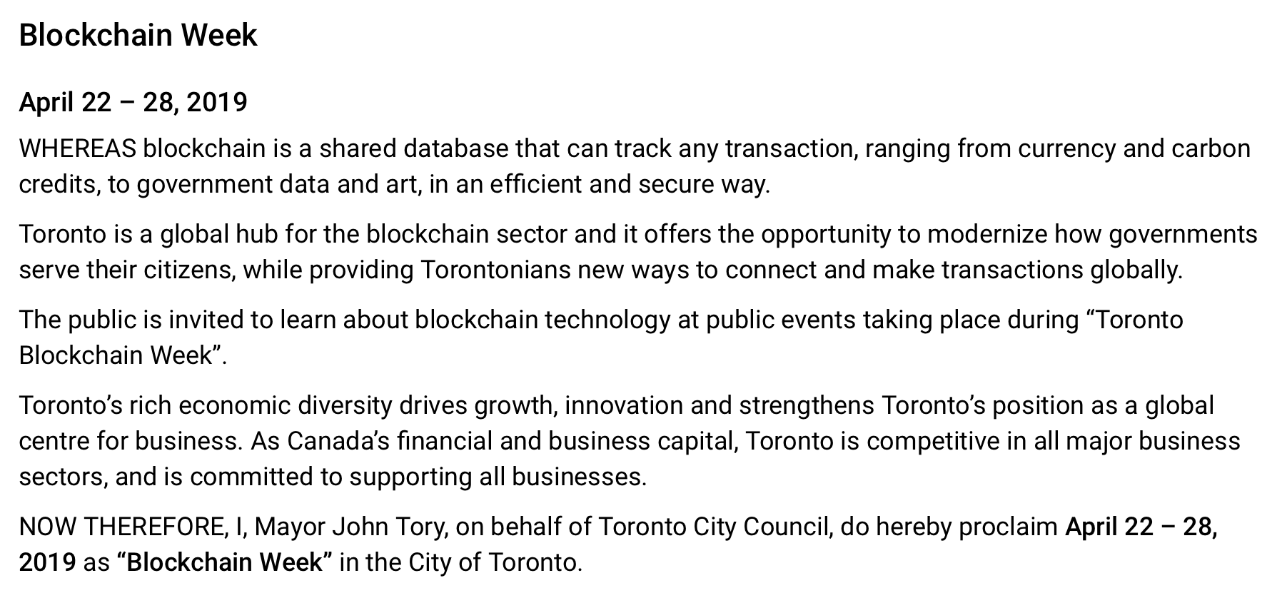 Official proclamation of Toronto Blockchain Week