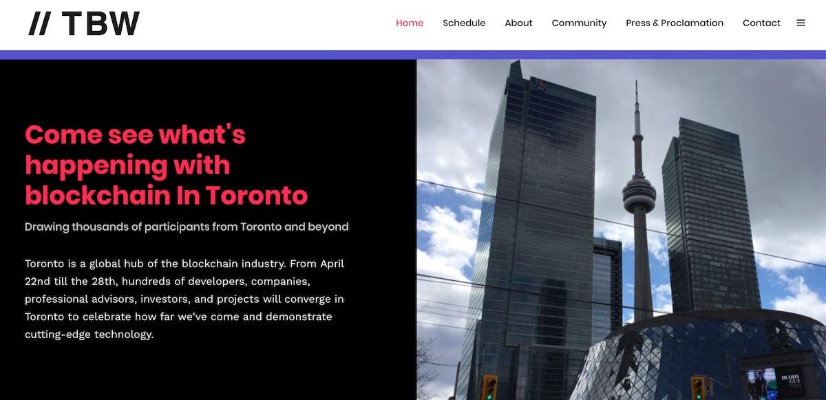 Screenshot of Toronto Blockchain Week website