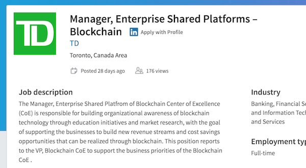 Screenshot of TD's ad for blockchain manager position
