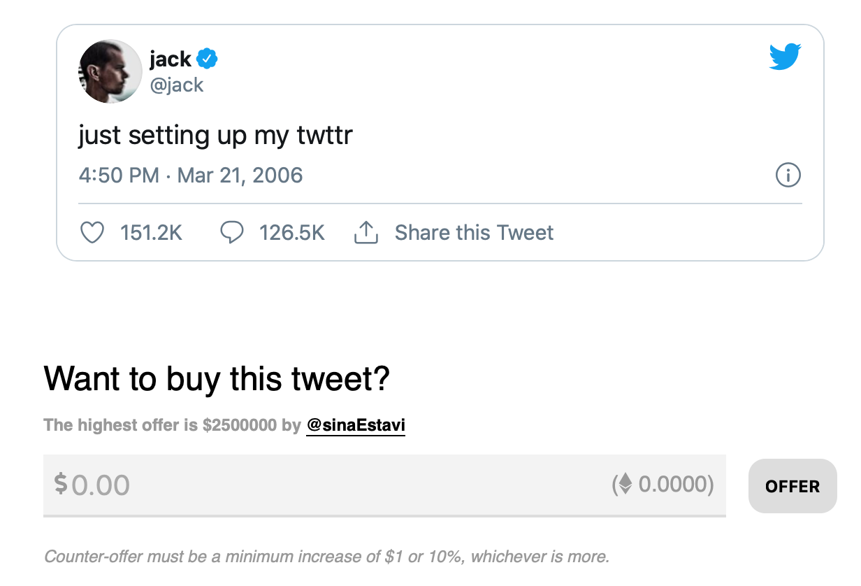 Jack Dorsey selling his first tweet as an NFT