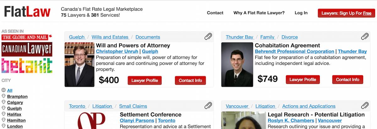 Screenshot of FlatLaw.ca