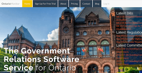 Screenshot of OntarioMonitor.ca